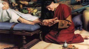 Мария Магдалина-омывает-ноги-Иисусу-миром-вытирая-их-своими-волосами